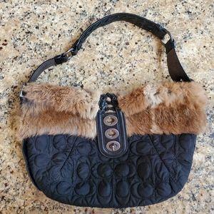 Rare Coach Quilted Rabbit Fur Bag